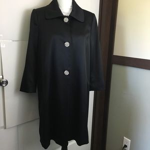 Arden B Large Black Satin Couture Trench Coat